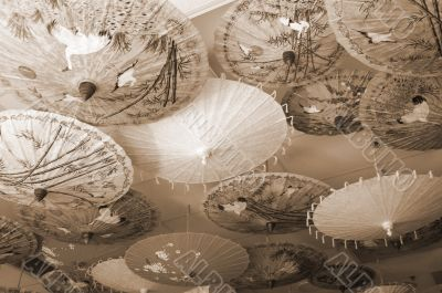 Chinese Decor Umbrellas sepia