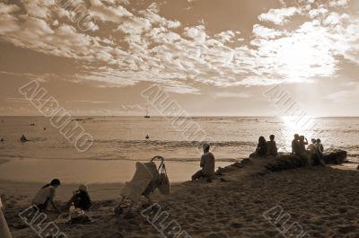 Waikiki Beach Honolulu Hawaii sepia
