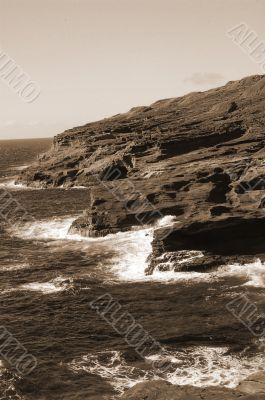 Rocky Makapu`u Beach Hawaii sepia