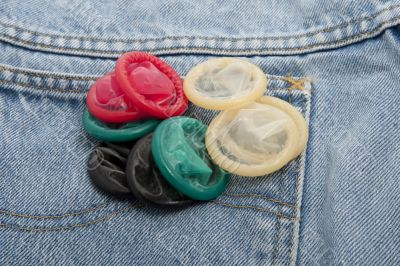 Condoms in different colors