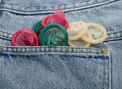 Condoms in different colors