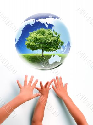 Earth and babies hands