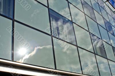 Futuristic Office Building and Blue Sky