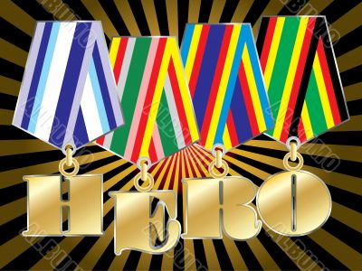 abstract vector military awards with hero word