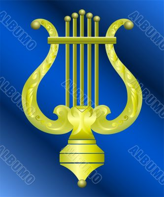 Vector gold decorated lyre