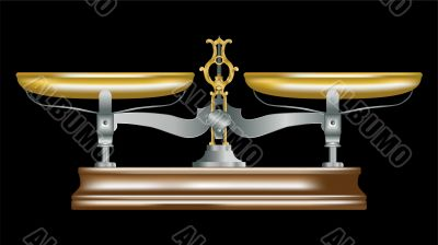 vector illustration of  vintage metal table scales