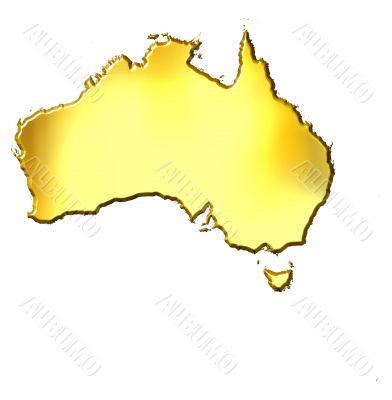 Australia 3d Golden Map