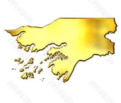 Guinea-Bissau 3d Golden Map