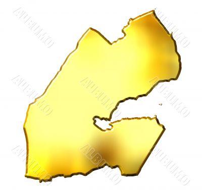 Djibouti 3d Golden Map