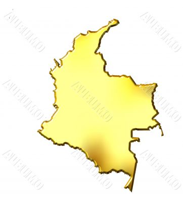 Colombia 3d Golden Map