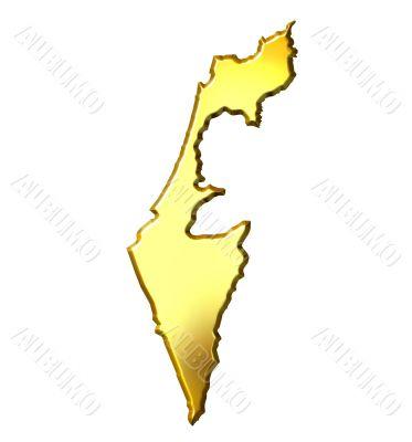 Israel 3d Golden Map