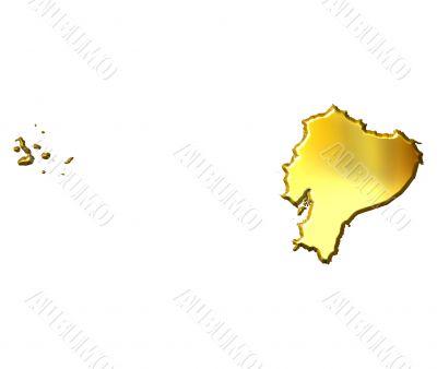 Ecuador 3d Golden Map