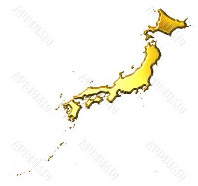 Japan 3d Golden Map