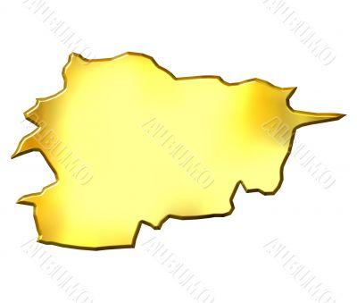 Andorra 3d Golden Map
