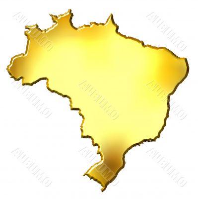 Brazil 3d Golden Map