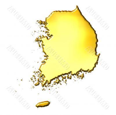 South Korea 3d Golden Map