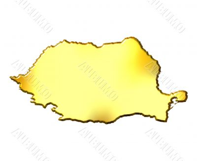 Romania 3d Golden Map