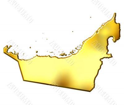 United Arab Emirates 3d Golden Map