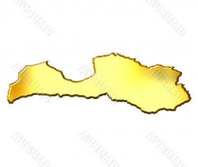 Latvia 3d Golden Map