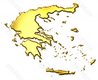 Greece 3d Golden Map
