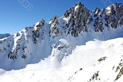 Mountain scenery with ski tracks