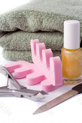 pedicure beauty set and towel