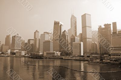 Hong Kong Skyline sepia