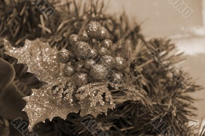 Christmas Decoration Balls and Leaves sepia