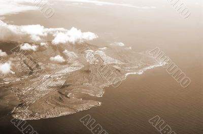 Aerial View of Honolulu Hawaii sepia