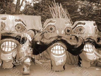 Ravana preparation on Dussehra sepia