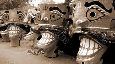 Ravana head effigies sepia