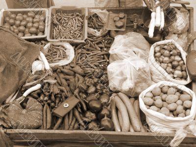 Selling Fresh Vegetables sepia