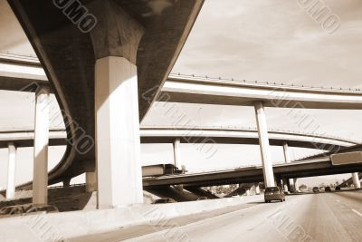 Overpass America Freeway System sepia
