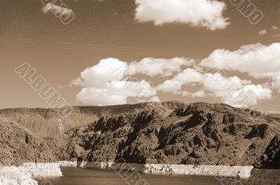 Clouds on Lake Mead sepia