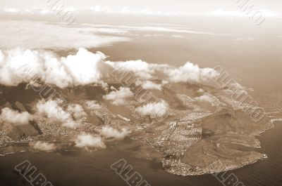 Aerial View of Oahu Hawaii sepia