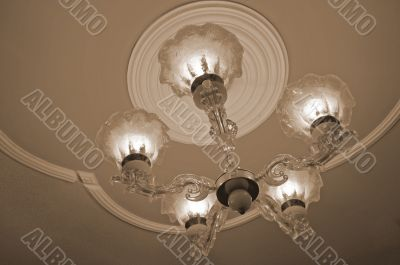 Chandelier with lights sepia