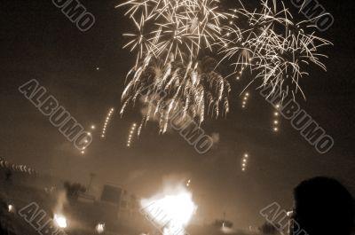 Fireworks Watching sepia