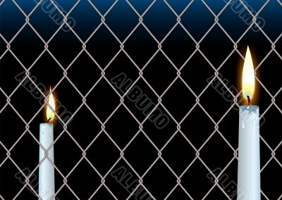 wire fence candle