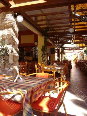 Cover terrace of greek taverna