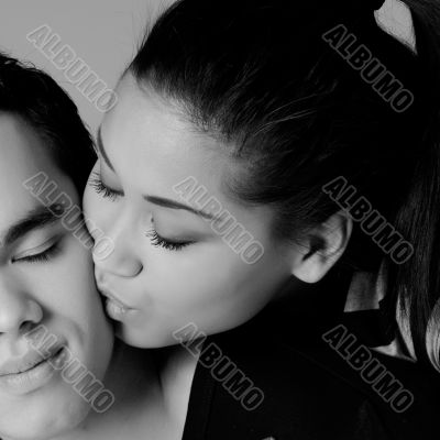 Kissing my Indonesian lover on the cheek