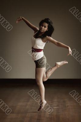 Portrait of an Indonesian girl dancing