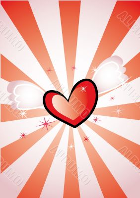 Heart with wings on striped background
