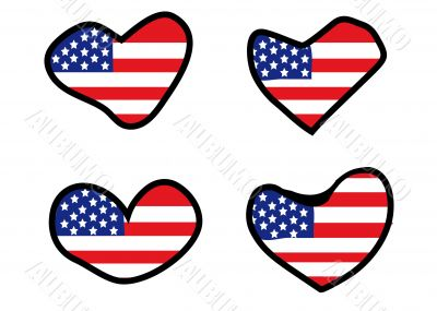 set of hearts with american flag