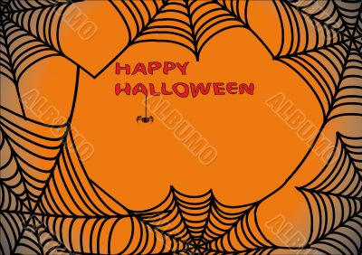 Halloween background with spider`s web 3