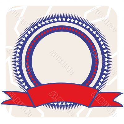 round frame with red ribbon for labour day