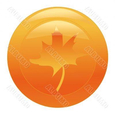 orange web button with maple leaf