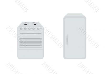 Isolated white refrigerator and gas-stove