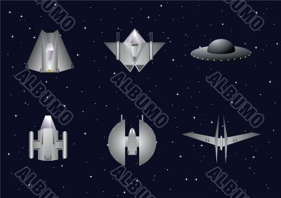 Vector set of space crafts