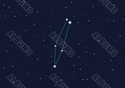 illustration of constellation `Chameleon` in open space