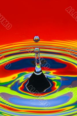 multicolored water droplet